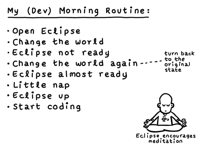 my (dev) morning routine geek comic